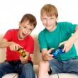 Cool boys in bright T-shirts - Stock Photo