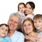 Happy Caucasian family of six — Stock Photo #12842477