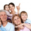 Happy Caucasian family of six — Stock Photo