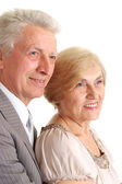 Pensive elderly couple — Stock Photo