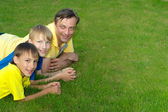 Superb family outdoors — Stock Photo