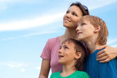 Fine family outdoors — Stock Photo