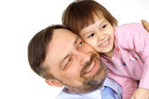 Father and small daughter smiling — Stock Photo