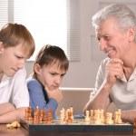 Happy family at a chess — Stock Photo #29178529