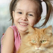 Little girl with a cat  — Stock Photo