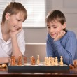 Two boys playing chess — Stock Photo