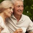 Nice elderly couple sitting on the veranda — Stock Photo