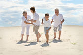 Boys with his grandparents — Stock Photo