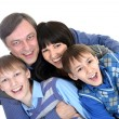 Portrait of joyful family of four  — Stock Photo