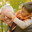 Grandson with his grandfather — Stock Photo