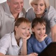 Family at a laptop — Stock Photo