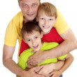 Cute family in bright T-shirts  — Stock Photo