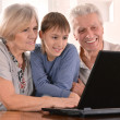 Boy with his grandparents — Stock Photo