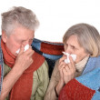 Stock Photo: Elderly couple ill with influenza