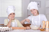 Boys knead the dough — Stock Photo