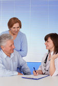Patients and fine doctor — Stock Photo