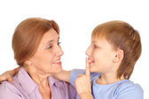 Grandson shares the secret — Stock Photo