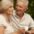 Beautiful elderly couple sitting on the veranda — Stock Photo
