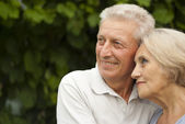 Nice elderly couple in the garden — Stock Photo