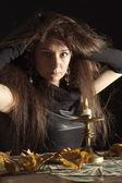 Bir cadı gibi güzel bayan — Stok fotoğraf