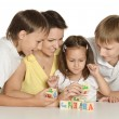 Family  playing with blocks — Stock Photo