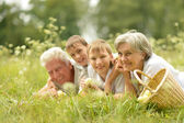Happy family having a picnic on a sunny summer day — Stock Photo
