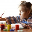Good baby draws paint — Stock Photo