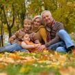Happy beautiful elderly couple and boys — Stock Photo
