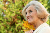 Nice lady in the autumn park — Stock Photo