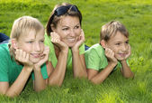 Happy mother and children — Stock Photo