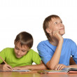 Brothers doing their homework. — Stock Photo #30069571