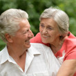 Loving aged couple on nature — Stock Photo #30069951