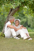 Aged couple outdoors — Stock Photo