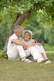 Ouder paar buitenshuis — Stockfoto