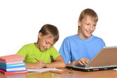 Two brothers with laptop doing homework — Stockfoto