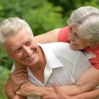 Loving aged couple on nature — Stock Photo #30070555