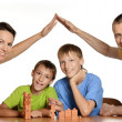 Happy family playig — Stock Photo