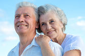 Beautiful Caucasian aged couple outdoors — Stock Photo