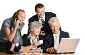 The team works with the computer — Stock Photo