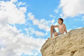 Boy on a hill — Stock Photo