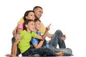 白の幸せな家族 — ストック写真