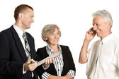 Two businesspeople and old man — Stock Photo