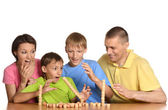 Family playing the constructor — Stock Photo