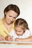 Mom and daughter drawing — Stock Photo