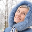 Portrait of a nice old woman in the winter — Stock Photo