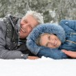 Elderly couple in winter — Stock Photo