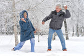 Elderly couple playing snawballs — Stock Photo