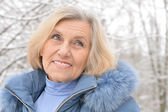Nice old woman in the winter — Stock Photo