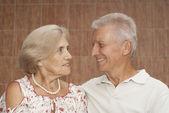 Fine elderly couple decided to walk — Stock Photo