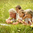 Stock Photo: Happy family having a picnic on a sunny summer day